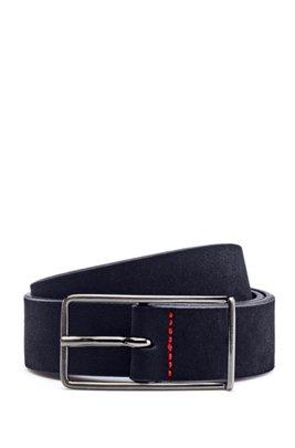 Italian-suede belt with extended buckle, Dark Blue