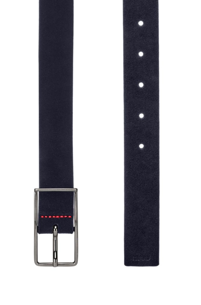 Italian-suede belt with extended buckle