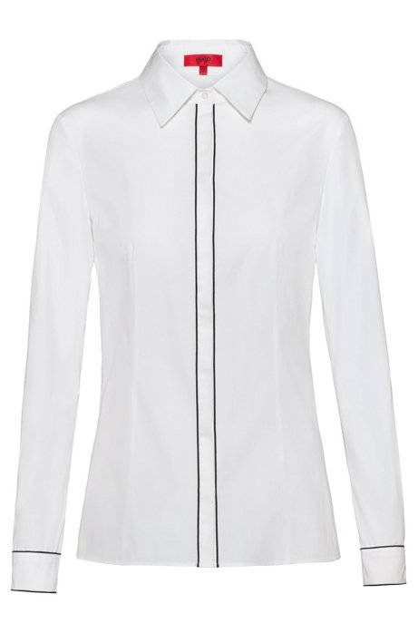 Slim-fit blouse with piped concealed closure, White
