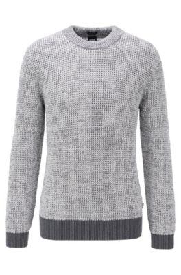 Regular-fit trui van moulinékatoen met contrasterend ribmateriaal, Grijs