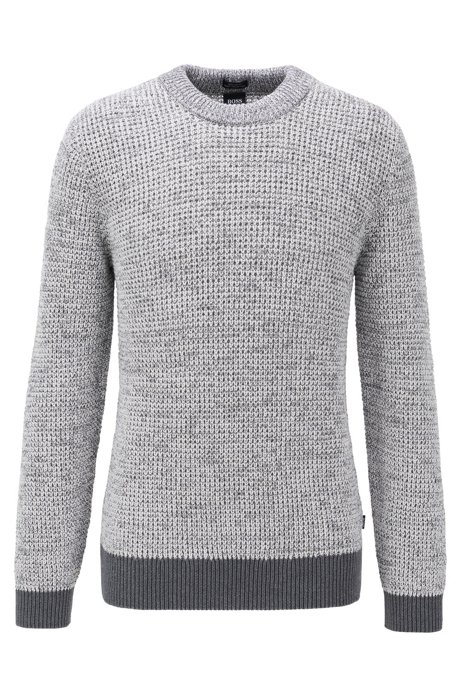 Regular-fit sweater in mouliné-cotton with contrast ribbing, Grey