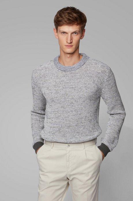 Pull Regular Fit en coton mouliné à bordures côtelées contrastantes, Gris