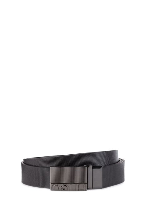 Reversible belt in Italian leather with embossed stripes, Black