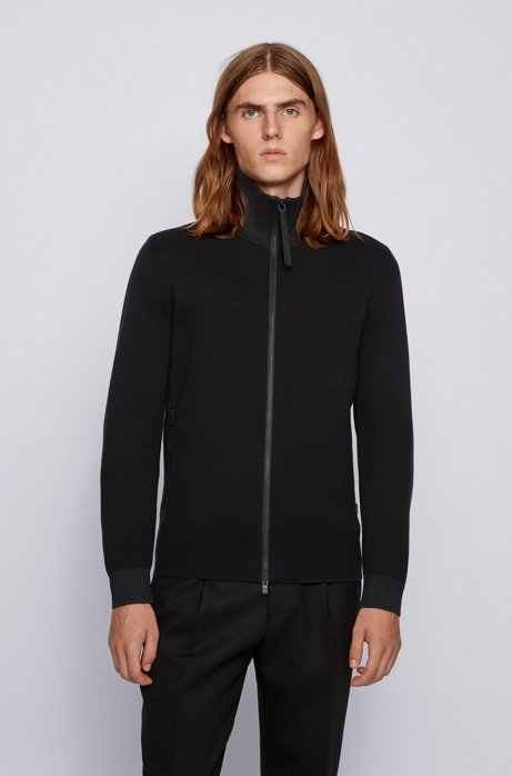 Regular-fit jacket in mixed-structure cotton, Black