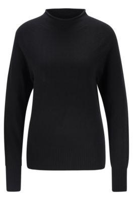 Jersey regular fit en puro cashmere con cuello mao alto, Negro