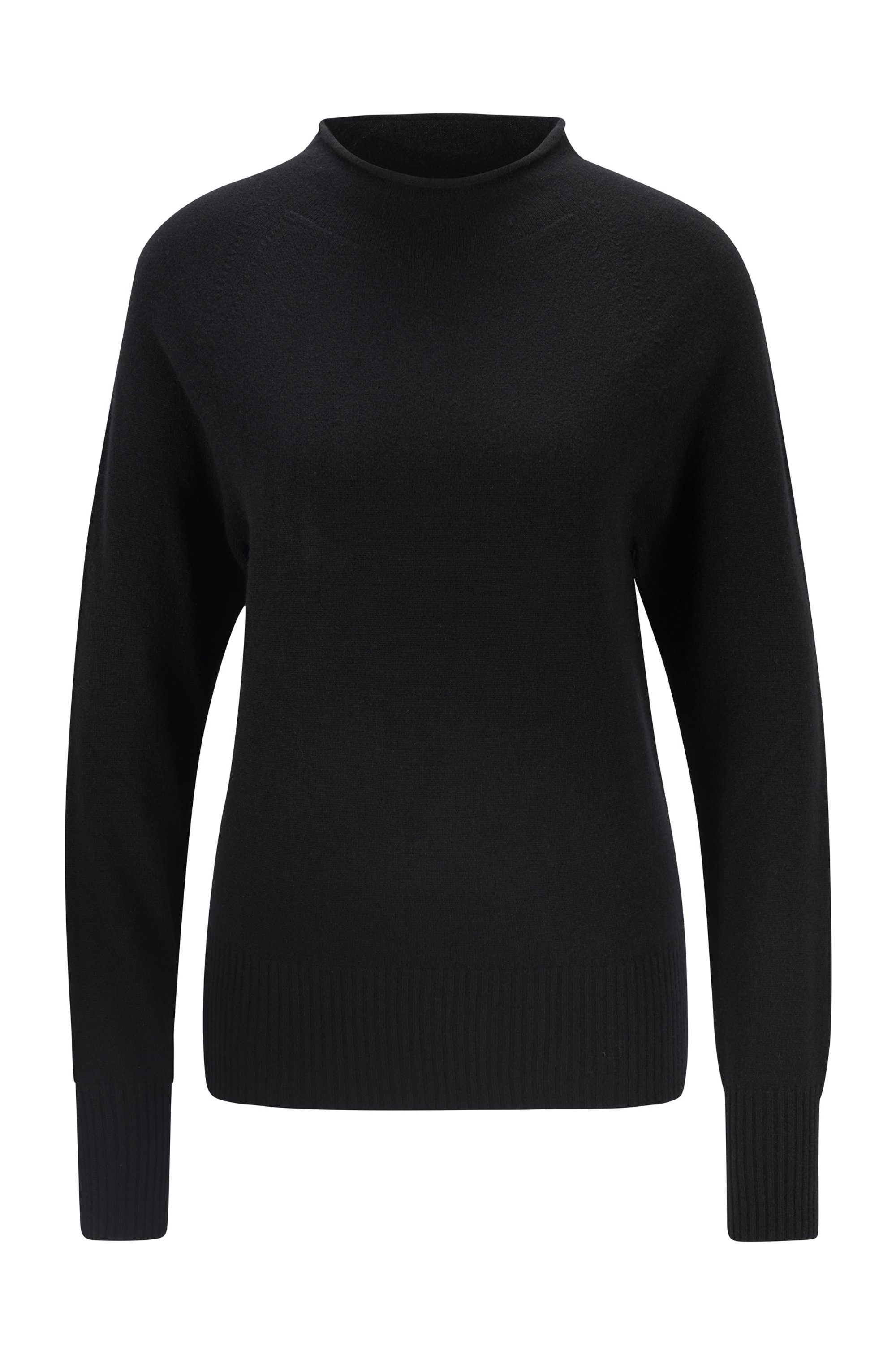 Regular-fit sweater with funnel neck in pure cashmere, Black