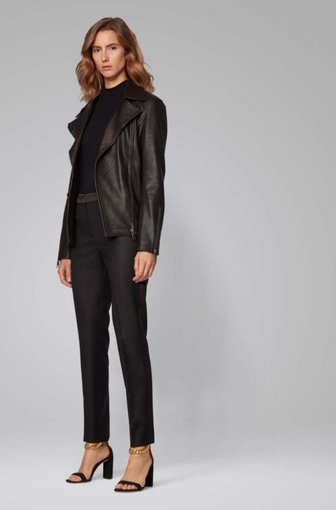 Regular-fit sweater with funnel neck in pure cashmere