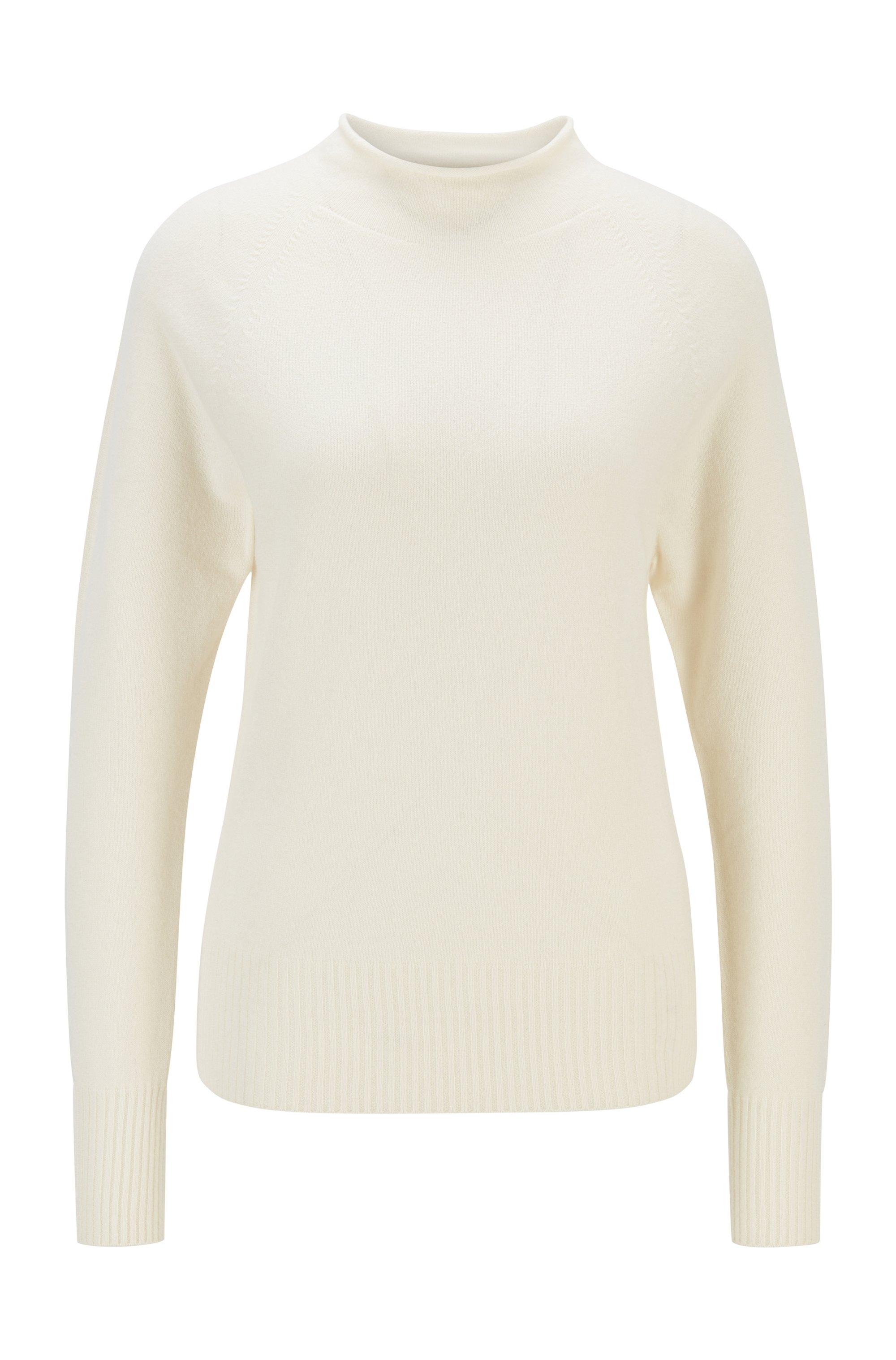 Pullover aus reinem Kaschmir mit Trichterkragen, Weiß