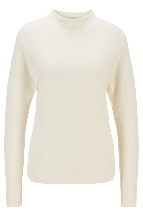 Regular-fit sweater with funnel neck in pure cashmere, Natural