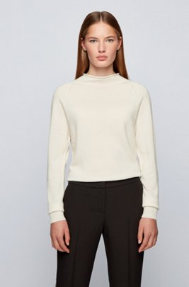 Regular-fit sweater with funnel neck in pure cashmere, White
