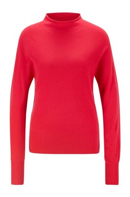 Regular-fit sweater with funnel neck in pure cashmere, Pink