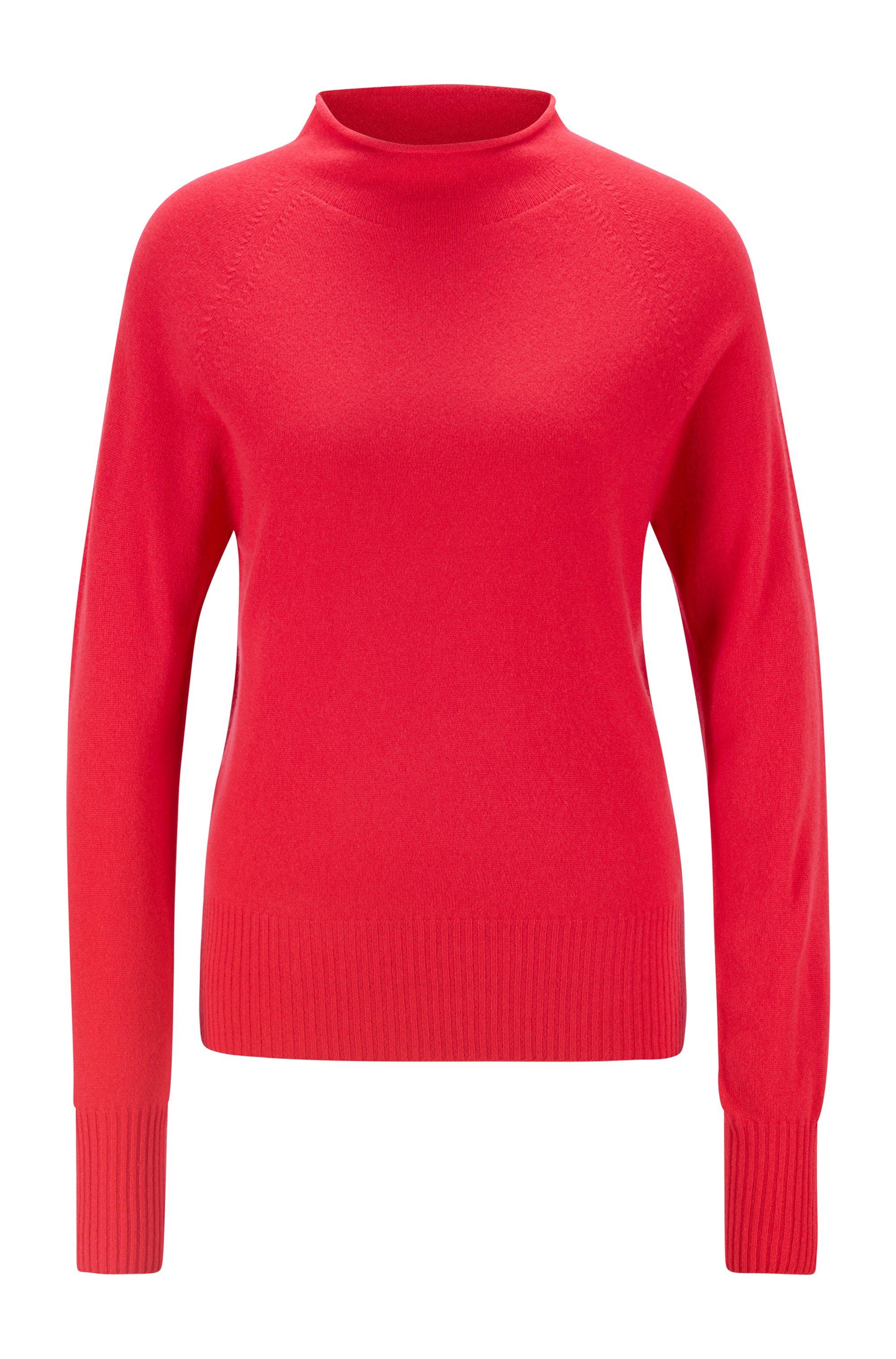 Pullover aus reinem Kaschmir mit Trichterkragen, Pink