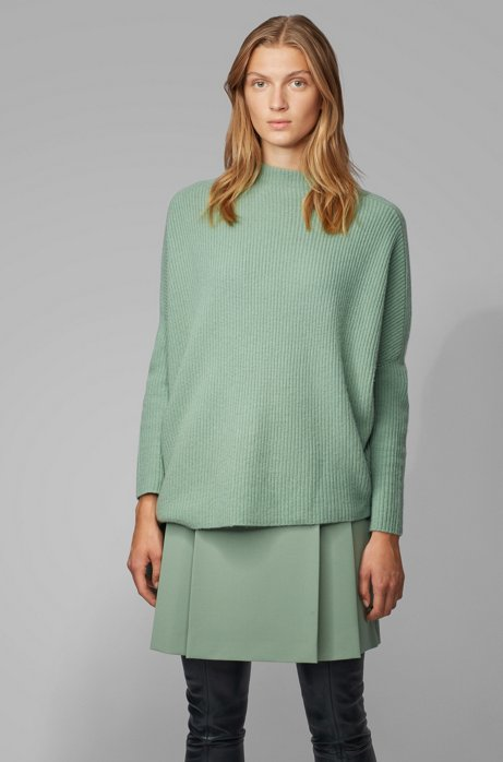 Relaxed-fit sweater in pure cashmere with side ties, Light Green