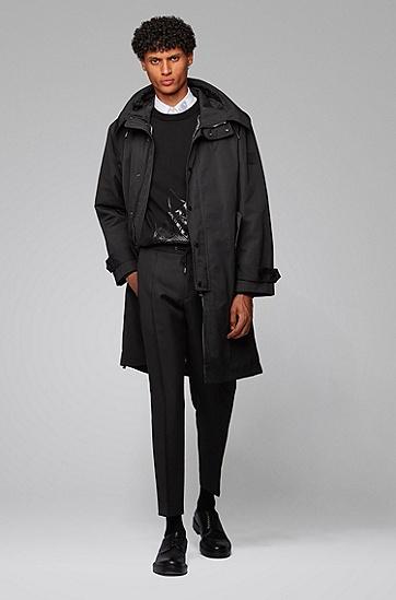 图案印花纯棉针织毛衣,  001_黑色