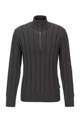 Jersey con cremallera de canalé ancho en algodón mercerizado, Gris oscuro