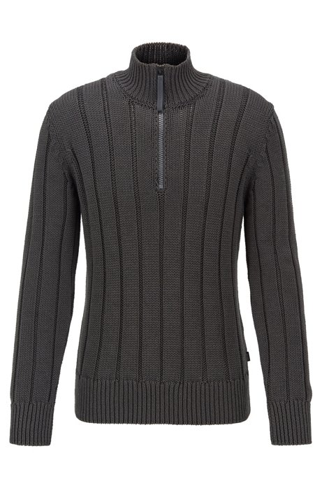 Wide-rib zip-neck sweater in mercerised cotton, Dark Grey