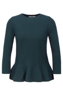 Pullover mit Schößchensaum und Rundhalsausschnitt, Dunkelgrün