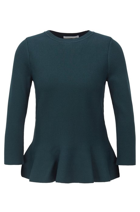 Slim-fit sweater with peplum hem and crew neckline, Dark Green