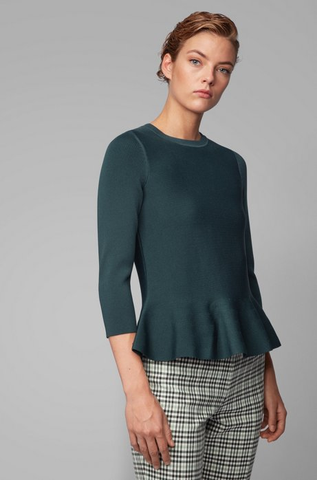 Slim-fit sweater with peplum hem and crew neckline, Dark Green