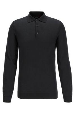 Polo slim fit en punto de lana con detalles metalizados, Negro