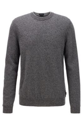 Regular-Fit Pullover aus melierter Schurwolle, Grau