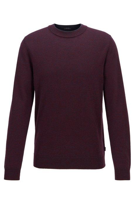 Regular-fit sweater in mouliné virgin wool, Dark Purple