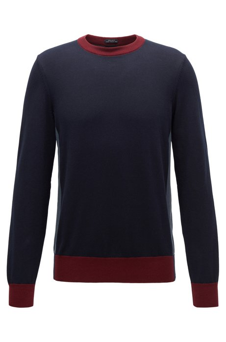 Regular-fit sweater with colour-block hemline, Dark Blue