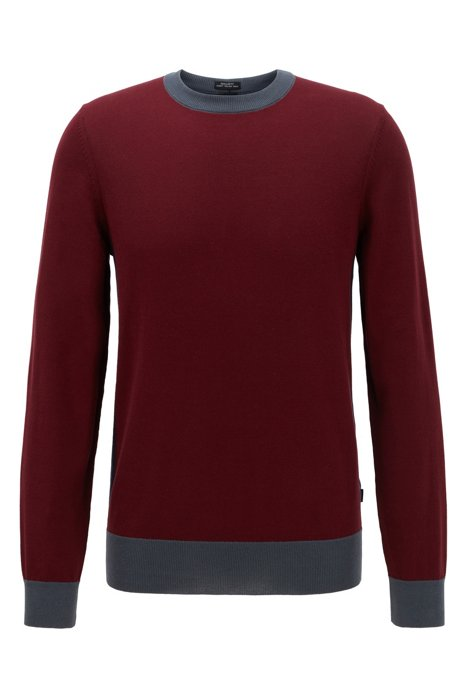 Pull Regular Fit avec base color block, Rouge sombre