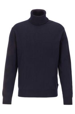 Pull à col hybride en laine vierge italienne, Bleu foncé