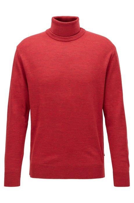 Hybrid-neckline sweater in Italian virgin wool, Red