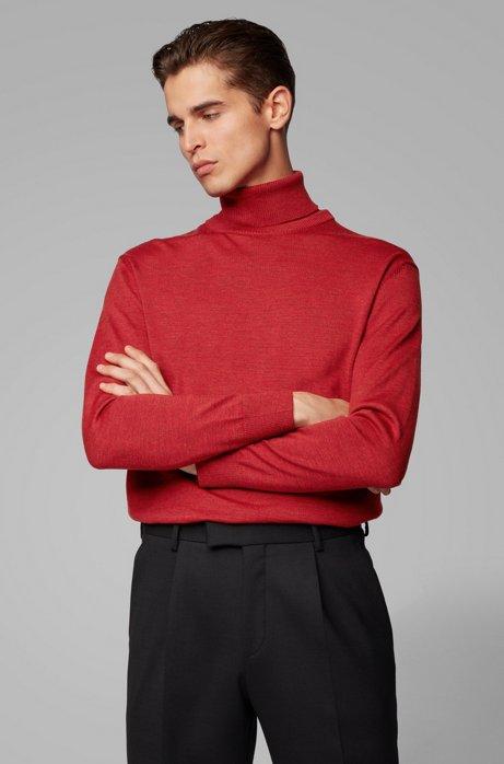 Pullover aus italienischer Schurwolle mit Hybrid-Kragen, Rot