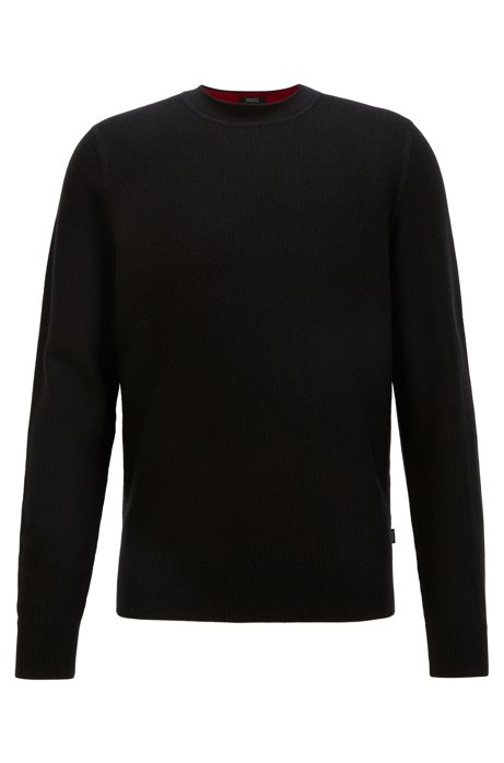Regular-fit sweater in structured cotton and wool, Black