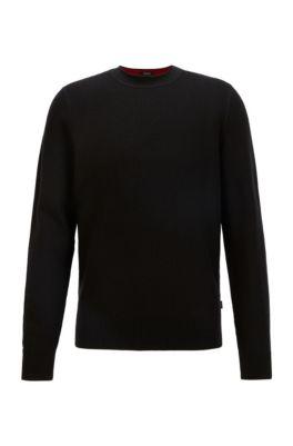 Pull Regular Fit en maille structurée de coton et de laine, Noir