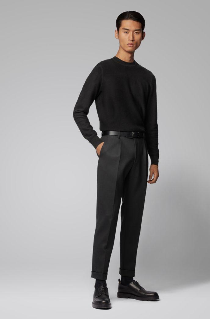Maglione regular fit in misto cotone e lana strutturato