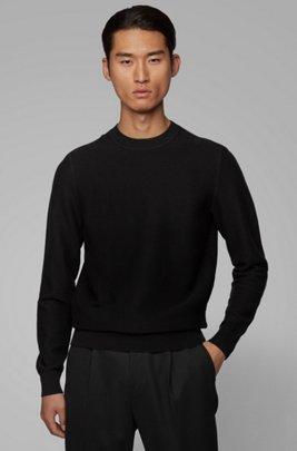 Maglione regular fit in misto cotone e lana strutturato, Nero