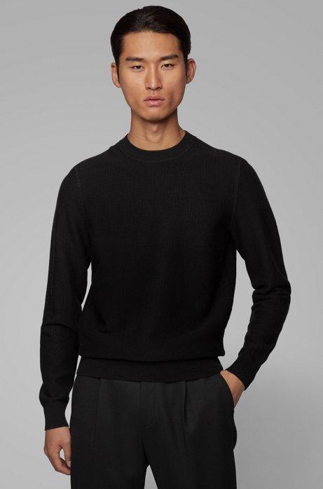 Regular-fit trui van gestructureerde katoen en wol, Zwart