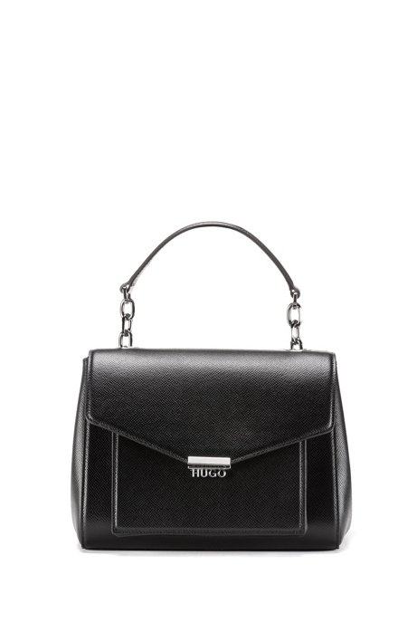 Handbag in Italian Saffiano leather with metallic details, Black