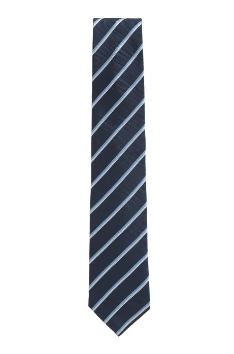 Italian-made silk tie with diagonal stripes, Blue