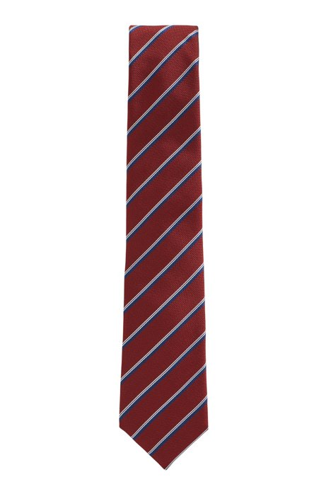 Italian-made silk tie with diagonal stripes, Dark Red