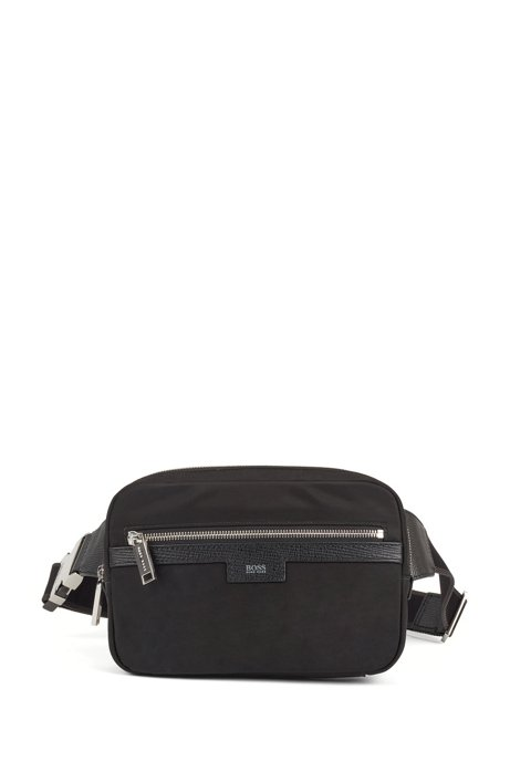 Nylon-gabardine belt bag with leather trims, Black