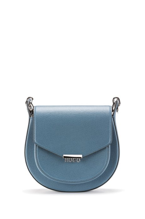 Saddle bag in Italian Saffiano leather with cotton lining, Blue