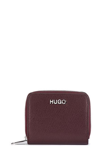 Zip-around wallet in Saffiano leather, Open Red
