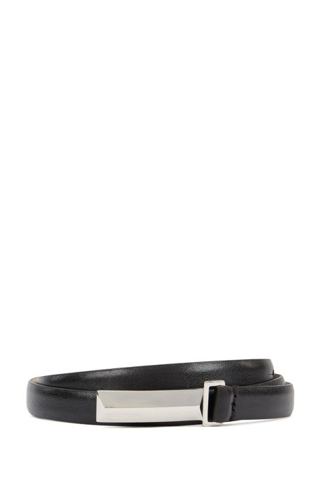 Italian-leather belt with metallic pyramid buckle, Black