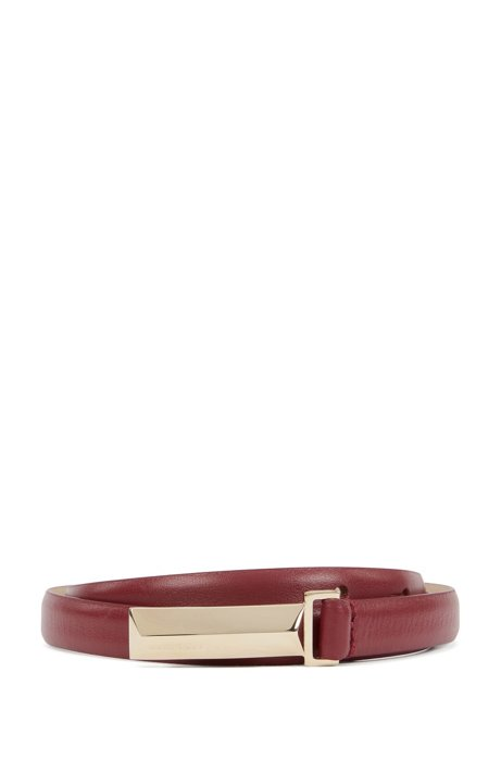 Italian-leather belt with metallic pyramid buckle, Dark Red