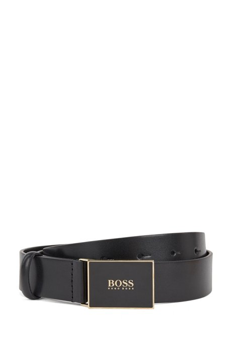 Logo plaque-buckle belt in Italian leather, Black