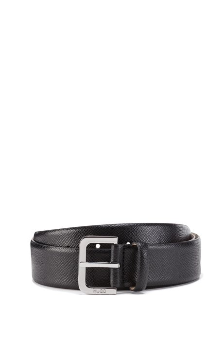 Italian-made belt in Saffiano leather, Black