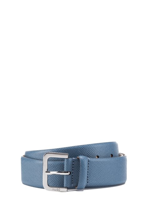 Italian-made belt in Saffiano leather, Blue