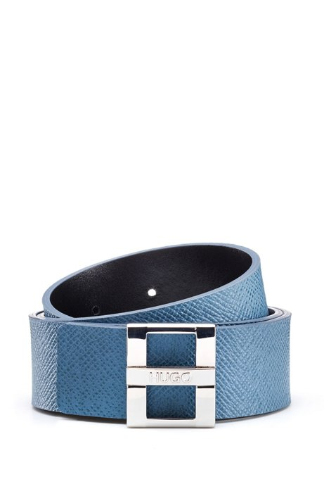 Saffiano-printed leather belt with signature buckle, Light Blue