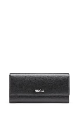 Continental wallet in saffiano calf leather with logo hardware, Black