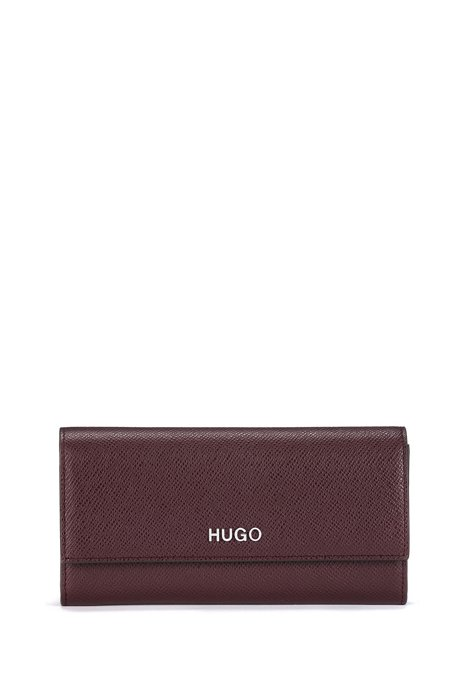 Continental wallet in saffiano calf leather with logo hardware, Open Red
